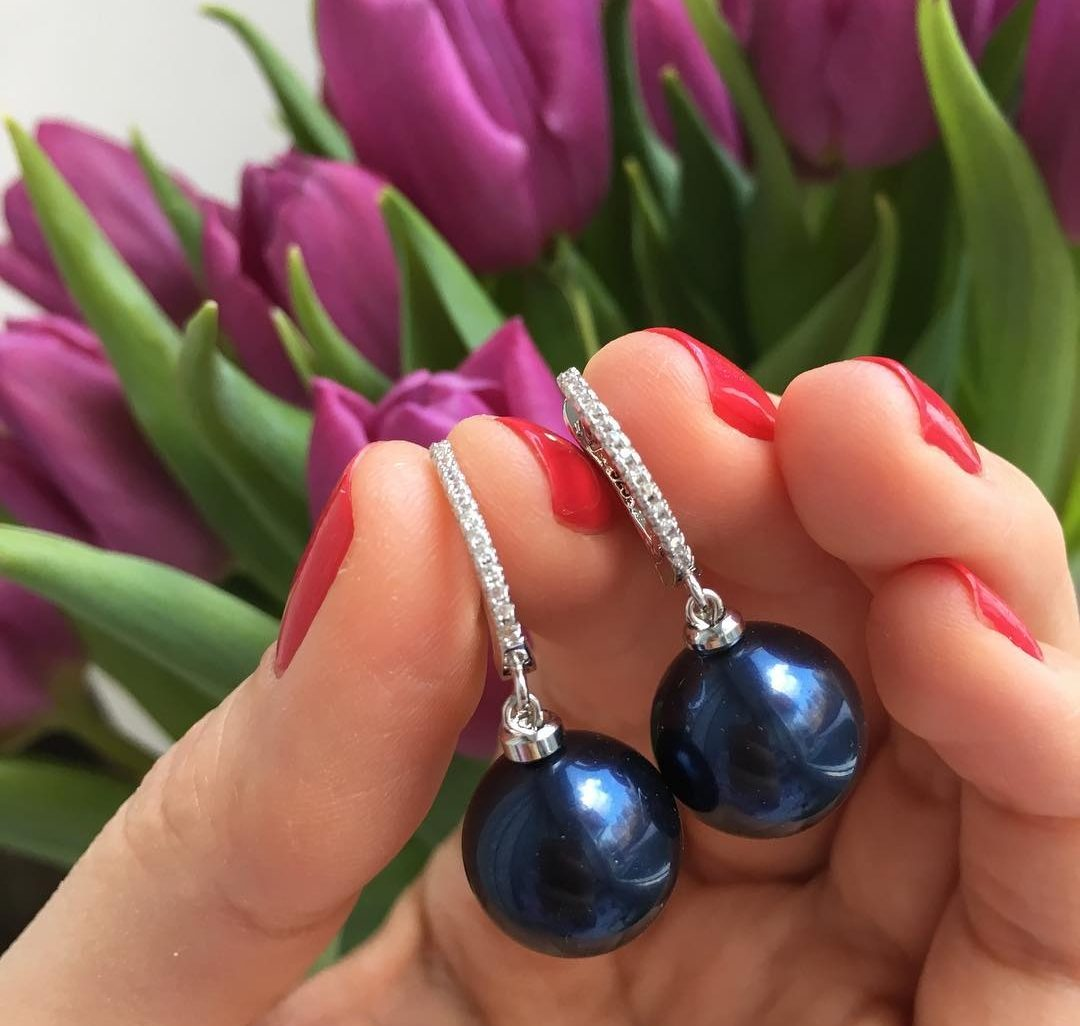 Серьги с кристальным жемчугом Swarovski Crystal Night Blue Pearl